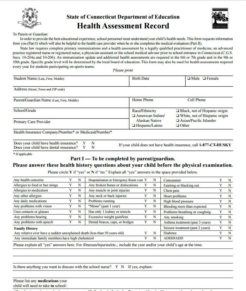 Doc500647 Sports Physical Form Athletic Physical Form 57 – Physical Form